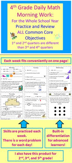 This is daily math morning work for weeks 2 through 34 of the fourth grade school year. It covers and practices All of the common core objectives for fourth grade math along with reviewing some objectives from 3rd grade that fosters a deeper understanding of the fourth grade math objectives. $