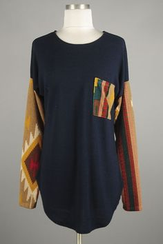 *** New Style *** Sheer Side Slit Long Sleeve Knit Tunic with Tribal Print Contrast Detail Featuring Patch Pocket Accent.