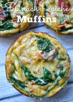 These little Spinach quiche muffins are easy to make ahead and just heat them up each morning. Have along with oatmeal for a great clean eating breakfast.