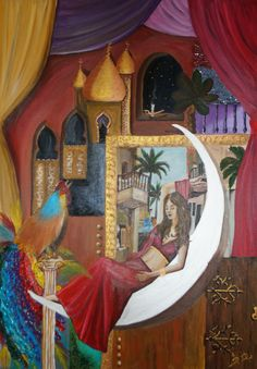 Shahrazad from thousand and one nights acrylic 100 x 70 cm