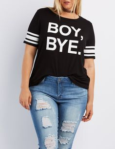 Plus Size Boy Bye Football Tee | Charlotte Russe #plussizeclothing