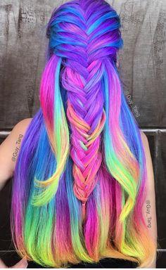 Rainbow colored hair gorgeous