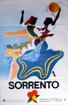 Sorrento (Italy) , 1955 - original vintage travel beach poster by Puppo #essenzadiriviera www.varaldocosmetica.it