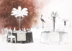 Эскиз гостевых столов. Свадьба в стиле Великий Гетсби. Ресторан Грумант