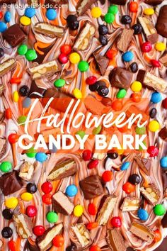 Wondering how to make chocolate bark? This Halloween Candy Bark is made with delicious chocolate, white and orange candy melts, and bejeweled with loads of candy. An amazing chocolate bark recipe! || Delightful E Made