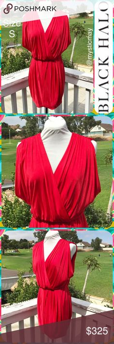 """BLACK HALO Candy Apple Red Draped Surplice Dress Stunning draped satin """"Jill"""" cocktail dress from Black Halo in a vibrant candy apple red color! This dress is sleeveless with a surplice neckline and elastic waist. Stretchy jersey material. Popover styling. Size Small (S) or 4/6. Measures 19"""" across the chest and 34"""" in length. A gorgeous gown! Black Halo Dresses Mini"""