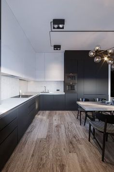 Black and white kitchen: 60 enthusiastic decoration models - hallway ideas - Kitchen Decor Kitchen Themes, Home Decor Kitchen, New Kitchen, Kitchen Ideas, Loft Kitchen, Kitchen Industrial, Industrial Loft, Industrial Furniture, Kitchen Island