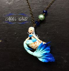 Tiny aquamarine and blue mermaid on her seashell necklace- Unique cameo model…
