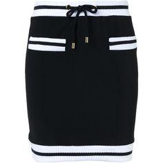 Moschino contrast trim mini skirt ($495) ❤ liked on Polyvore featuring skirts, mini skirts, black, moschino, drawstring skirt, mini skirt, short mini skirts and moschino skirt