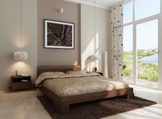Fantastic surprising and remarkable platform bed cover : Comfy King Platform Bed With Amazing Bed Cover Low Wooden Headboard Chocolate Fur Rug Beside Window