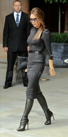 No matter what season you're in, there's always a reason to rock boots! These stars prove the style staple can weather any weather… in pants, shorts, or a skirt! Victoria Beckham opted for a little peep toe action in these sky-high stiletto leather boots for a work day in London. Looking typically chic and down-to-business, the designer's all-black ensemble left her mostly covered-up… except for the little bit of toe with black nail polish that peeked out of her boot. Miley Cyrus went the…