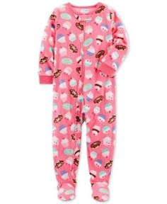 Carter's 1-Pc. Cupcake-Print Footed Fleece Pajamas, Baby Girls (0-24 months) - Pink 12 months