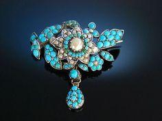 Wien Um 1840! Antike Florale Brosche Silber TüRkise Natur Perlen Antique Brooch