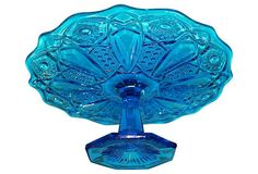 Blue Pressed Glass Cake Stand