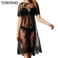 New Women Lace Dress Casual Long Black Short Sleeve O Neck See Through Beach Wear Dresses Sexy Lace Dress, Lace Summer Dresses, Beach Wear Dresses, Summer Dresses For Women, Sexy Dresses, Casual Dresses, Dress Summer, Revealing Dresses, Sleeve Dresses
