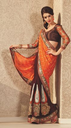 ORANGE & COFFEE designer saree that can make a woman look graceful, stylish, elegant and sensuous.MRP Cost-2200.00 Click To Shop- http://rekhamaniyar.in/Product/Orange-Coffee-Designer-Saree-169