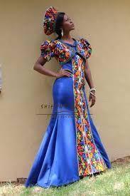 Gugu - Shifting Sands Traditional African Ndebele inspired mermaid wedding dress with bolera jacket and hat African Wedding Dress, African Print Dresses, African Print Fashion, African Dress, African Weddings, African Prints, South African Traditional Dresses, Traditional Wedding Dresses, African Attire