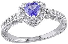 3/8 CT. T.W. Heart Shaped Tanzanite and 1/7 CT. T.W. Diamond Ring in Sterling Silver (GH I3)