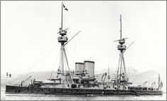 Vintage photographs of battleships, battlecruisers and cruisers.: Terrible class French coastal defense Ironclad predreadnought battleship Caiman.