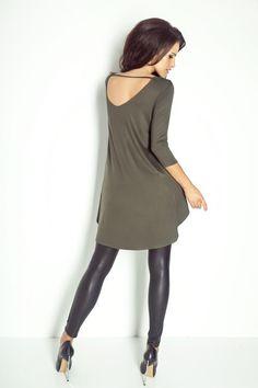 Asymetryczna tunika - khaki B30 w Ivon-sklep na DaWanda.com