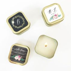 Personalized floral garden gold square candle tins add a hint of sparkle and elegance to your reception table settings. Creative Wedding Favors, Candle Wedding Favors, Candle Favors, Beach Wedding Favors, Wedding Favors For Guests, Bridal Shower Favors, Candle Labels, Wedding Ideas, Personalized Candles