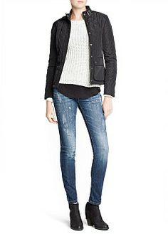 MANGO - CLOTHING - Jackets - Knit panel husky jacket