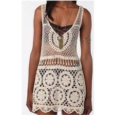Staring At Stars Boho Crochet Tunic✨✨✨ This is a very boho chic tunic to wear to festivals and street fairs or Coachella. Looks great over white or black bra-let or tank. Can be used as swimsuit cover too! This item is new and has never been worn but no tags. Urban Outfitters Tops Tunics