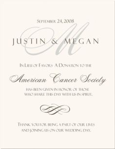 Charity Donation Favor Card for Your Wedding or Event