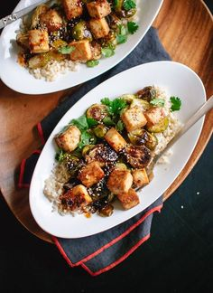 Roasted Brussels Sprouts and Crispy Baked Tofu with Honey-Sesame Glaze - Cookie and Kate