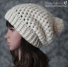 Crochet Pattern - An elegant crochet slouchy hat pattern that features a cozy puff stitch design. Includes baby, toddler, child, and adult sizes. By Posh Patterns. Puff Stitch Crochet, Ribbed Crochet, Crochet Slouchy Hat, Crochet Baby Beanie, Crochet Hats, Slouch Hats, Fedora Hat, Crochet Granny, Crochet Clothes