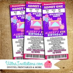 Bounce House Invitations Design for Birthday Event