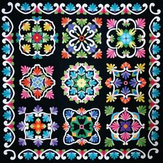 "Fiesta de Talavera Block of the Month ""Black Background"""