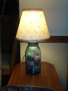 MASON JAR LAMP WITH RAG BALLS