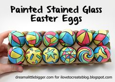 Find out how you can make these Painted Stained Glass Easter Eggs with your kids!