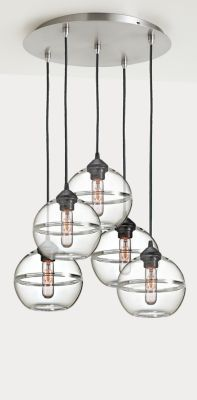 Room & Board   Banded Globe Pendant Lights with Round Ceiling Plate - Set of Five in Glass in Clear
