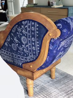 Reupholstered an old chaise lounge using indigo dyed fabirc. DIY Blogger, STL Stylist Becky McFarland