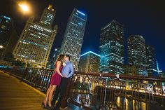 Chicago Night Engagement Photo