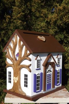 Large Wedding Card Box Birdhouse with Heart by mulberrylanefolkart,