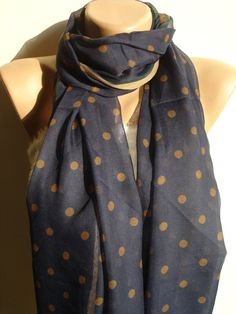 Pashmina Scarf Fashion Scarves For Women.I have this in reverse. It's my fave scarf Polka Dot Scarf, Polka Dots, Blue Brown, Blue And White, Chiffon Scarf, Pashmina Scarf, Classy And Fabulous, Scarf Styles