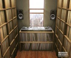 Check out this awesome Vinyl Records Galore and other cool DJ setup and booth. Home Studio, Vinyl Music, Vinyl Records, Dj Setup, Gaming Setup, Wall Of Sound, Sound Room, Vinyl Room, Vinyl Record Storage