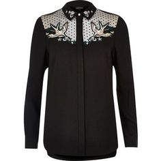 River Island Black swallow embroidered mesh collar shirt