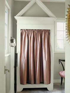 "architectural molding makes a small space look luxurious - ""Cabana closet"" by Reader & Swartz Architects curtained in Jim Thompson Thai silk. Changing Spaces, Changing Room, Pink Laundry Rooms, Family Closet, Pink Curtains, Closet Curtains, Small Space Solutions, Enchanted Home, Swimming Pools Backyard"