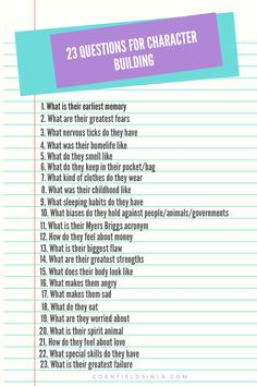 Writing Tips: 23 Questions For Character Building Writing Fantasy, Writing Romance, Writing Promps, Script Writing, Book Writing Tips, Writing Characters, Writing Words, Writing Skills, Fantasy Fiction