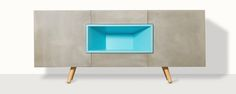 The Nenge cabinet was created by Italian designer Andrea Castiello who recently founded Width Studio. It is a stunning sideboard cabinet with a distinctly minimalistic feel which features grey cement board door fronts and an. Sideboard Cabinet, Credenza, Student Bedroom, Interiores Design, Cabinets, Furniture Design, Minimalist, Loft, Interiors