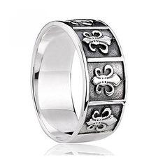 925 Sterling Silver Fleur de Lis Ring Gift for Men