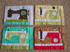 Dreamworthy Quilts: Deana: Good Vibrations and paper piecing.Just a pictured of sewing machine quilt blocks, but they sure are cute Quilting Tutorials, Quilting Projects, Sewing Tutorials, Sewing Crafts, Sewing Projects, Sewing Tips, Patchwork Quilt, Mini Quilts, Applique Quilts
