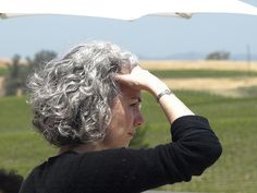 Silver curly bob. This is how I envision I will look when I go gray. In reality I will look more like Einstein.