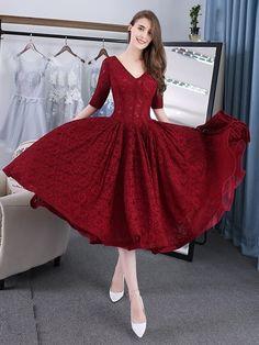 Vintage A-Line V-Neck Half Sleeves Lace Tea-Length Evening Dress