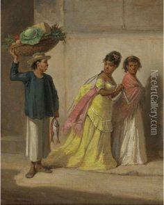 Víctor Patricio Landaluze - Tipos Populares (mujeres Y Vendedor De Frutas)