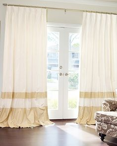 LP- boys curtains?  Different color------Looove these double banded drapes!